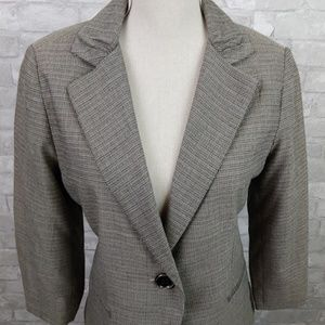 CAbi Tweed Blazer with tufted sleeves and collar
